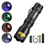 ALONEFIRE X004 4 Color in 1 LED Tactical Flashlight Rechargeable Red Green Blue White Light Flashlight Waterproof Zoomable with Battery Charger for Camping Hiking Hunting Fishing Backpacking Adults